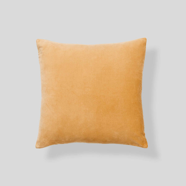 Organic cotton velvet cushion in Turmeric - euro