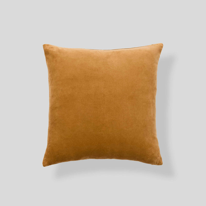 Organic cotton velvet cushion in Camel - square