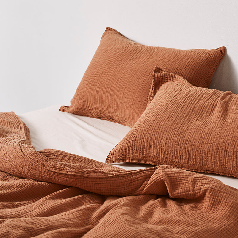 100% Organic Cotton Gauze Duvet Set in Terracotta (Single & Double)