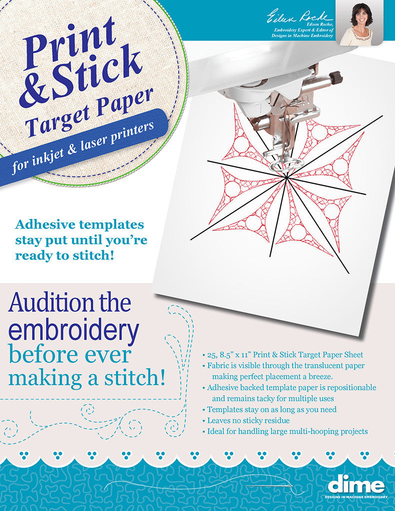 Print Amp Stick Target Paper Designs In Machine Embroidery