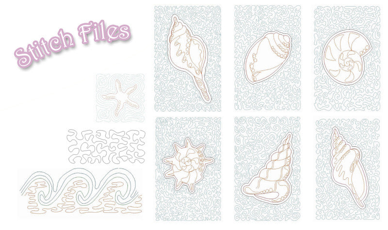 Stipple Seashells Designs In Machine Embroidery