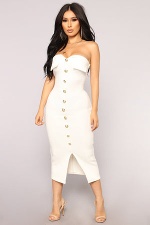 Key To My Heart Tube Dress - White