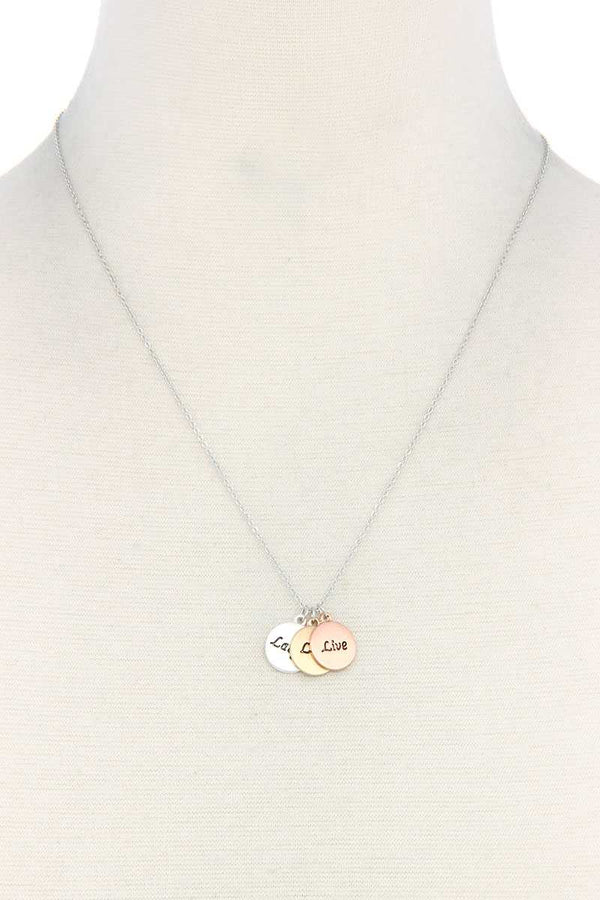 Laugh Love Live Charm Necklace