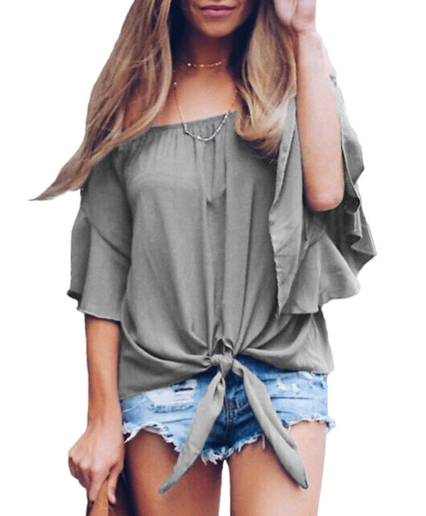 Gray Leah Off The Shoulder Tie-Front Top