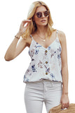 White Floral Button Down Tank