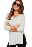 White V-Neck Sweater