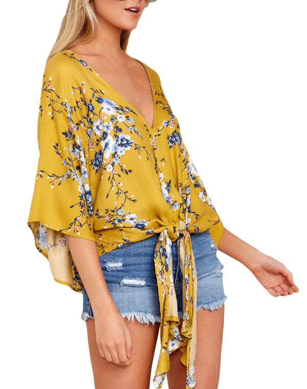 Yellow Lily Tie-Front Khimono Blouse