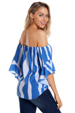 Blue Maya Off The Shoulder Tie-Front Top