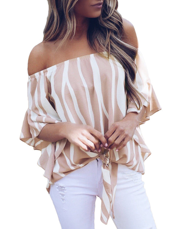 Pink Off The Shoulder Tie-Front Maya Top