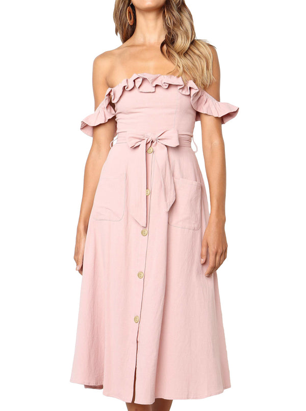 Pink Daisy Off The Shoulder Dress