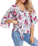 Floral Lily Tie-Front Khimono Blouse