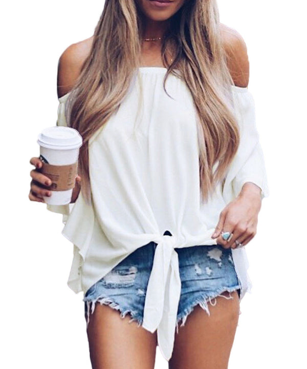White Leah Off The Shoulder Tie-Front Top