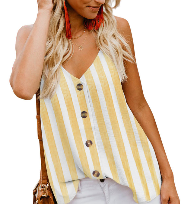 Yellow Aria Button Front Tank