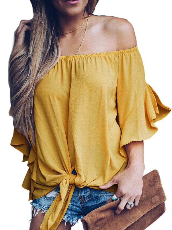 Yellow Leah Off The Shoulder Tie-Front Top