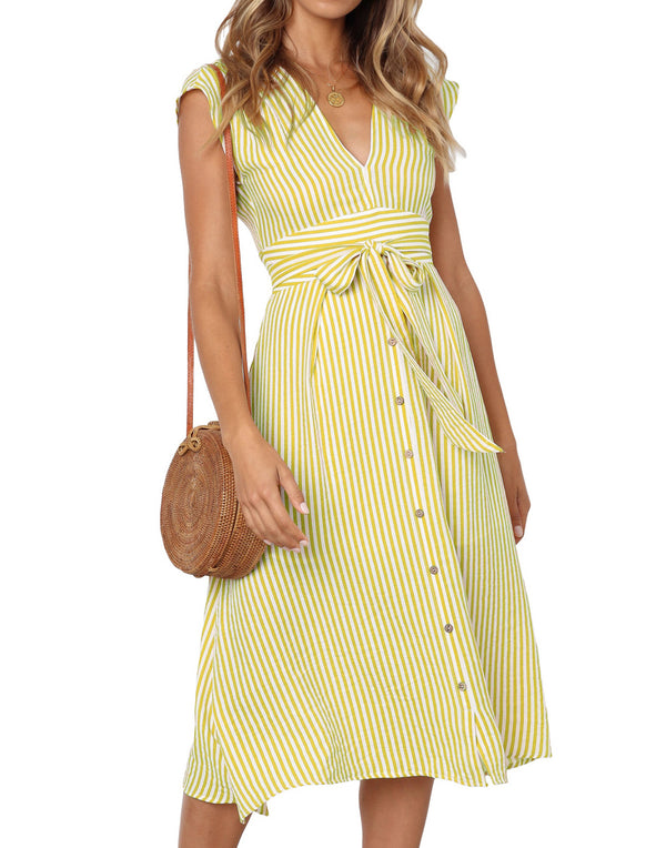 Yellow Cora Tie Front Midi Dress