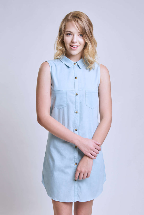 Collared Chambray Dress