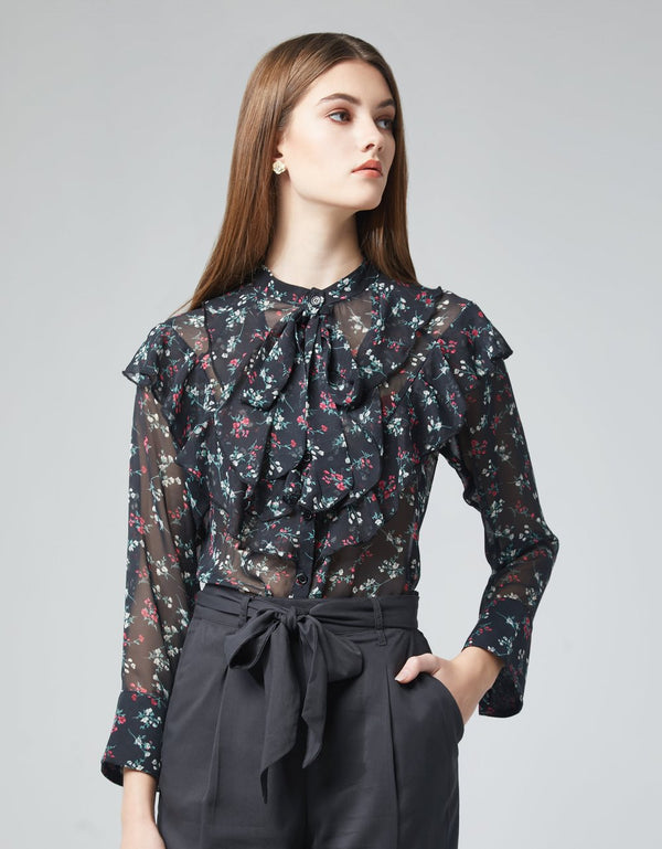 Floral Print Ruffle Blouse with Bow Tie Neckline