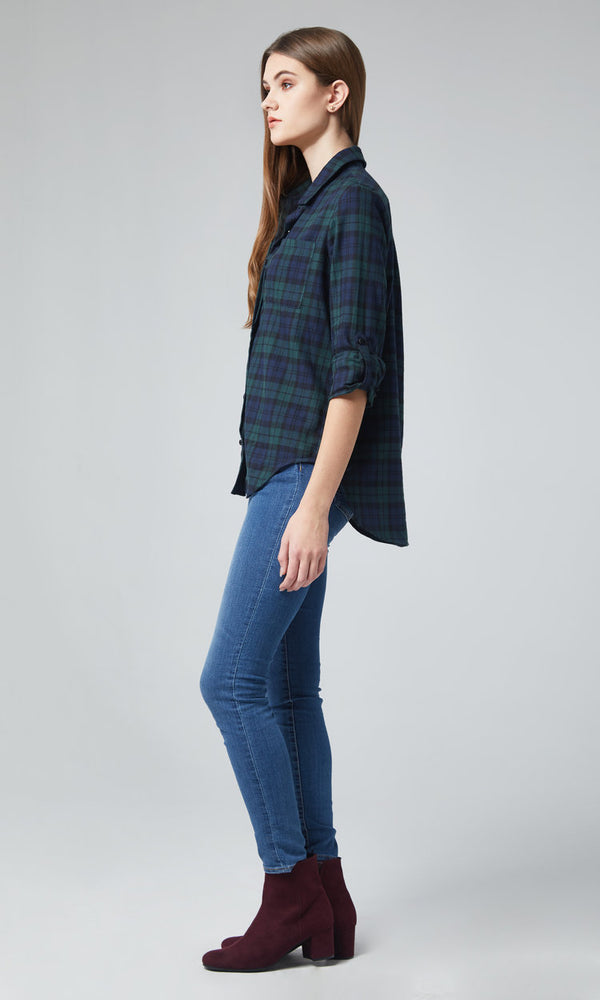 Long Sleeve Button-Front Tartan Plaid Shirt