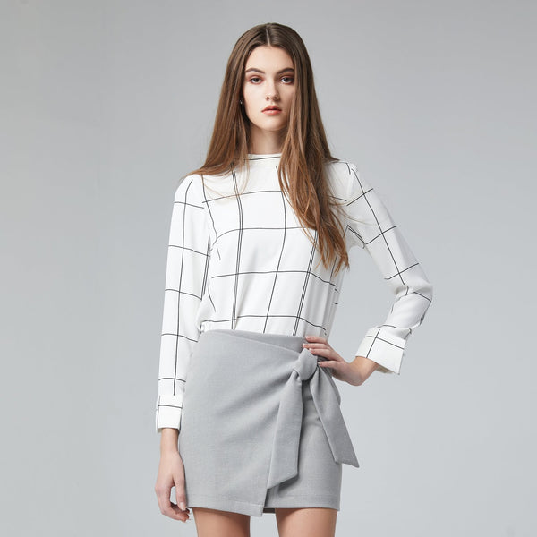 Tie-Front Grey Wrap Skirt