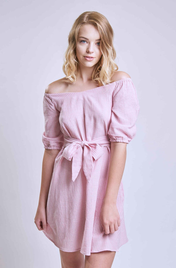 Pink Tie Front Striped Dress