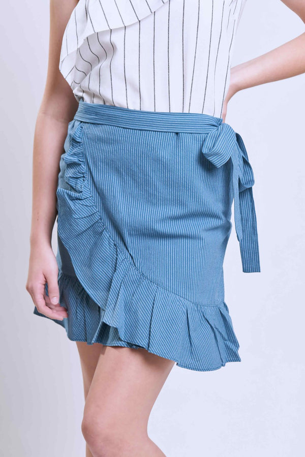 Blue Striped Wrap Skirt