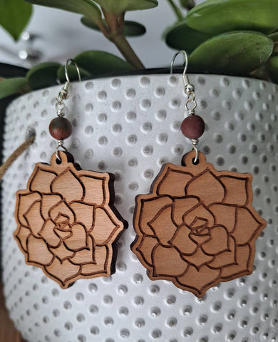 Wood and Sterling Silver Succulent Earrings