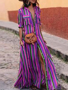 Arealook Fashion Stripes Half Sleeve Vacation Maxi Dresses
