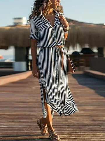 Lapel Elegant Stripes Short Sleeve Casual Dress