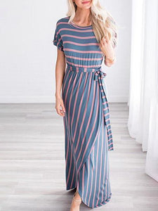 Fashion Stripe Loose Maxi Dress