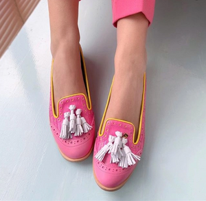 Women's Color Stitching Tassel Flat Shoes