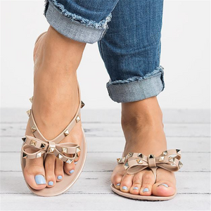 Bow rivet jelly flat sandals