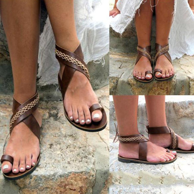 Bohemian  Flat  Ankle Strap  Peep Toe  Beach Casual Gladiator Sandals