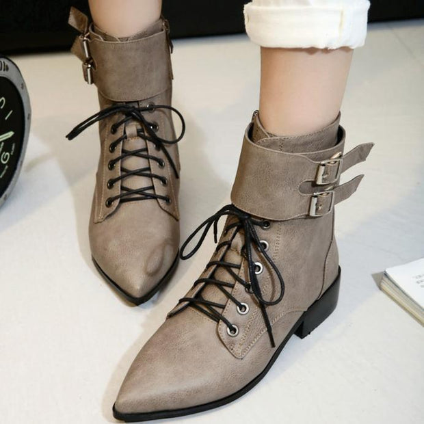 Comfortable Square Heel  Pointed Head Strappy Boots