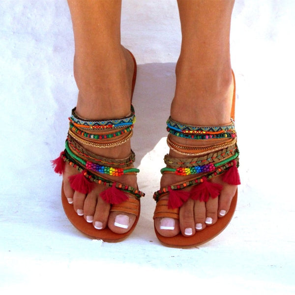 Summer Bohemian Vintage Open Toe Beach Slippers