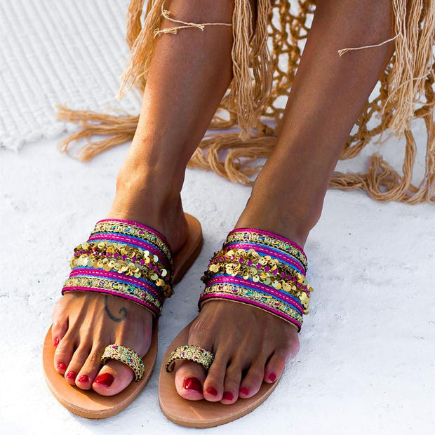 Vintage Open Toe Open Toed Sequins Embellished  Beach Slippers