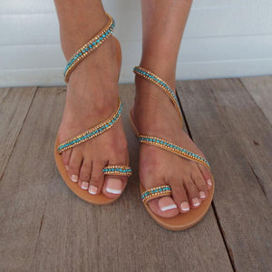 Fashion Vintage   Rhinestone Toe Flat Sandals