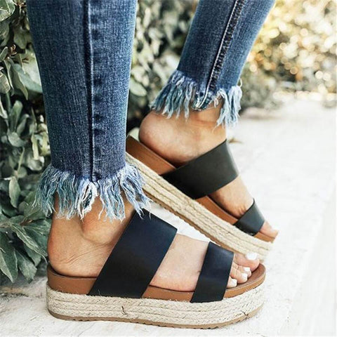 Fashion Simple Woven Thick-Soled Wedge Slippers