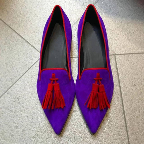 Women's Fringed Pointed Flat Shoes