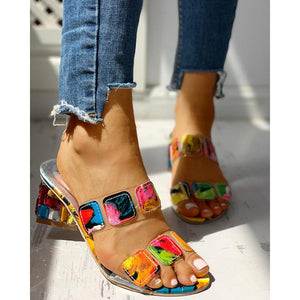Women's Color Stitching High   Heel Sandals