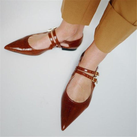 Women's Versatile Solid Color   Buckle Point Flat Shoes