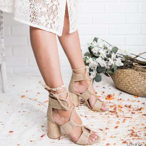 Elegant Fashion Decussated Lace-Up Peep-Toe Chunky Heels Sandals