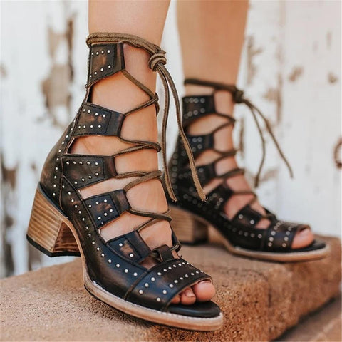 Women's Hollow Back Zip High Heel Sandals