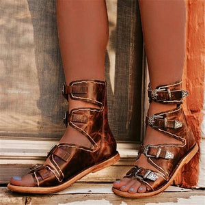 Women's Buckle Back Zipper Flat Sandals
