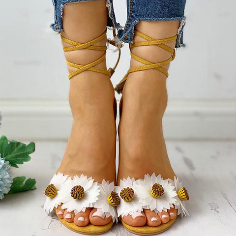 Women's flower lace with chunky heel sandals