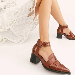 Euramerican Style Hollow Pointed Toes Chunky Heels Sandals