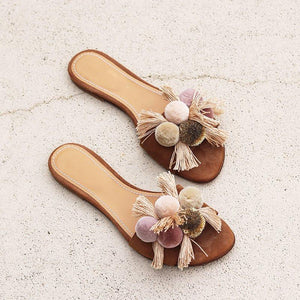 Women's Color Hair Ball Tassel Flat Slippers