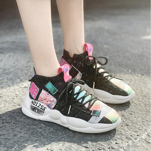 Women's Fashion Casual Color Matching Flyknit Sneakers
