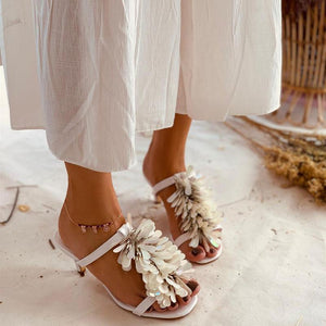 Casual Paillette Decoration Peep-Toe Heels Sandals