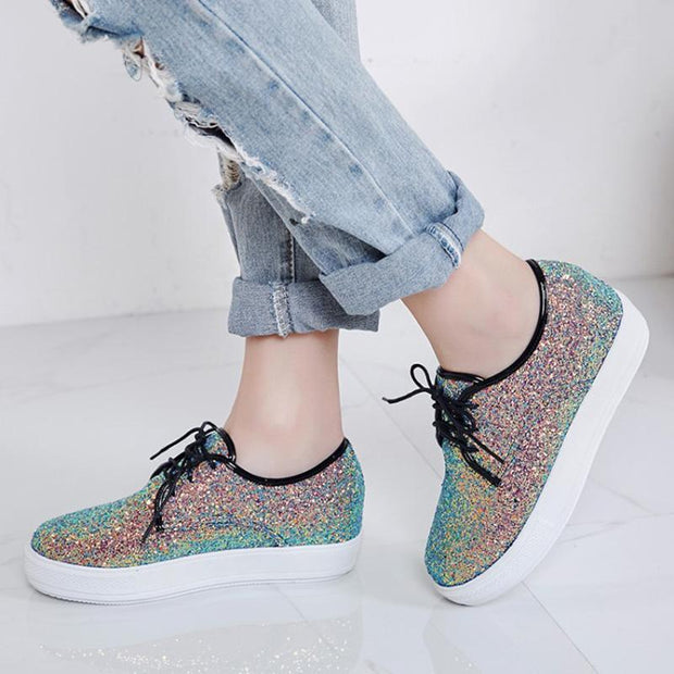 Casual Brisk Paillette Lace-Up Wedges Heels Sneakers