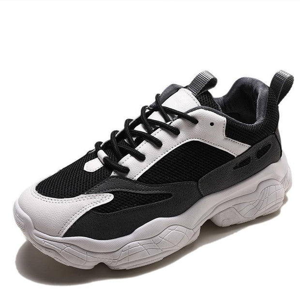 Women's Fashion Trend Solid Color Mesh Breathable Round Head Sneakers